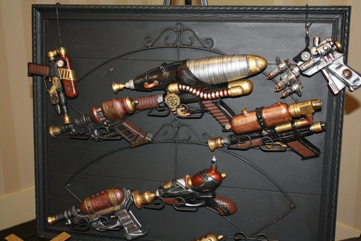 Numerous aetheric blaster weapons