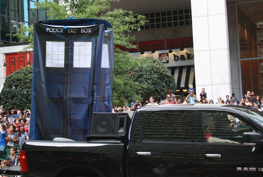 The TARDIS, on a pickup truck...